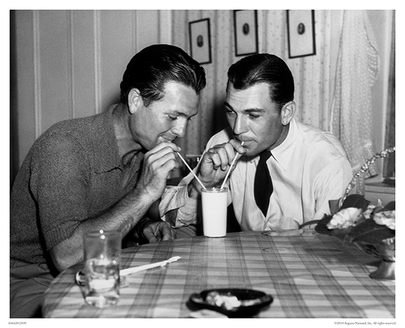Jimmy Demaret and Ben Hogan Share Glass of Milk, 1940